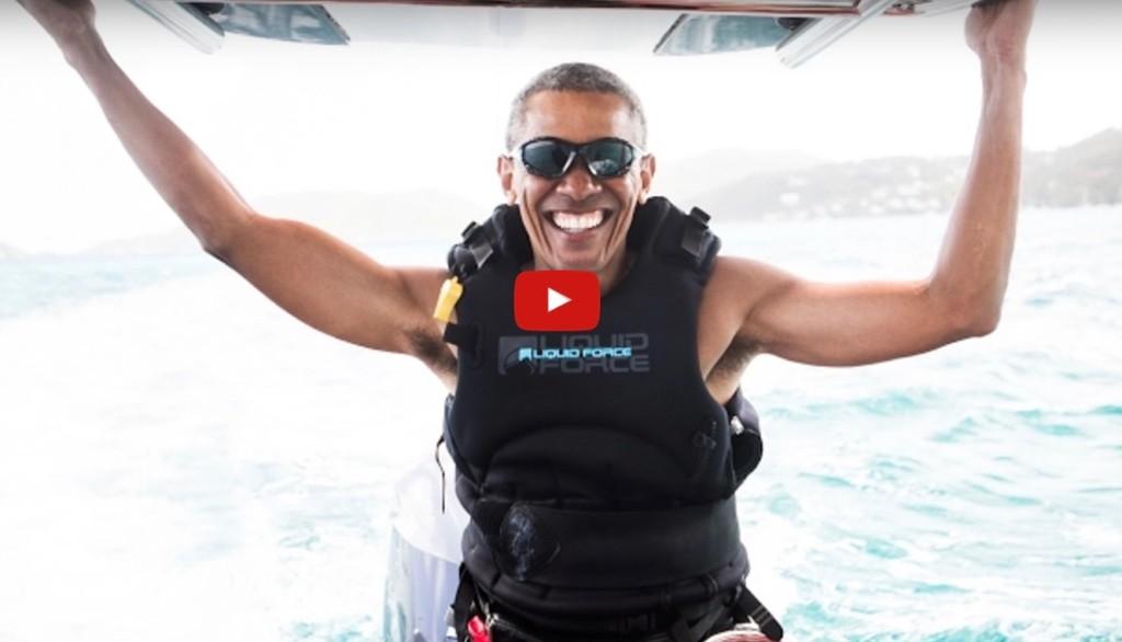 オバマ前大統領 カイトサーフィン